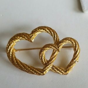 Double Textured HEARTS pin